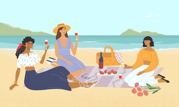 해변에서 피크닉에서 젊은 여자의 그룹. 와인을 마시는 해변에서 음식을 먹고 웃는 친구. 소녀들은 해변에서 휴식을 취하고 점심을 먹습니다. 편평한 화려한 그림입니다. 프리미엄 벡터