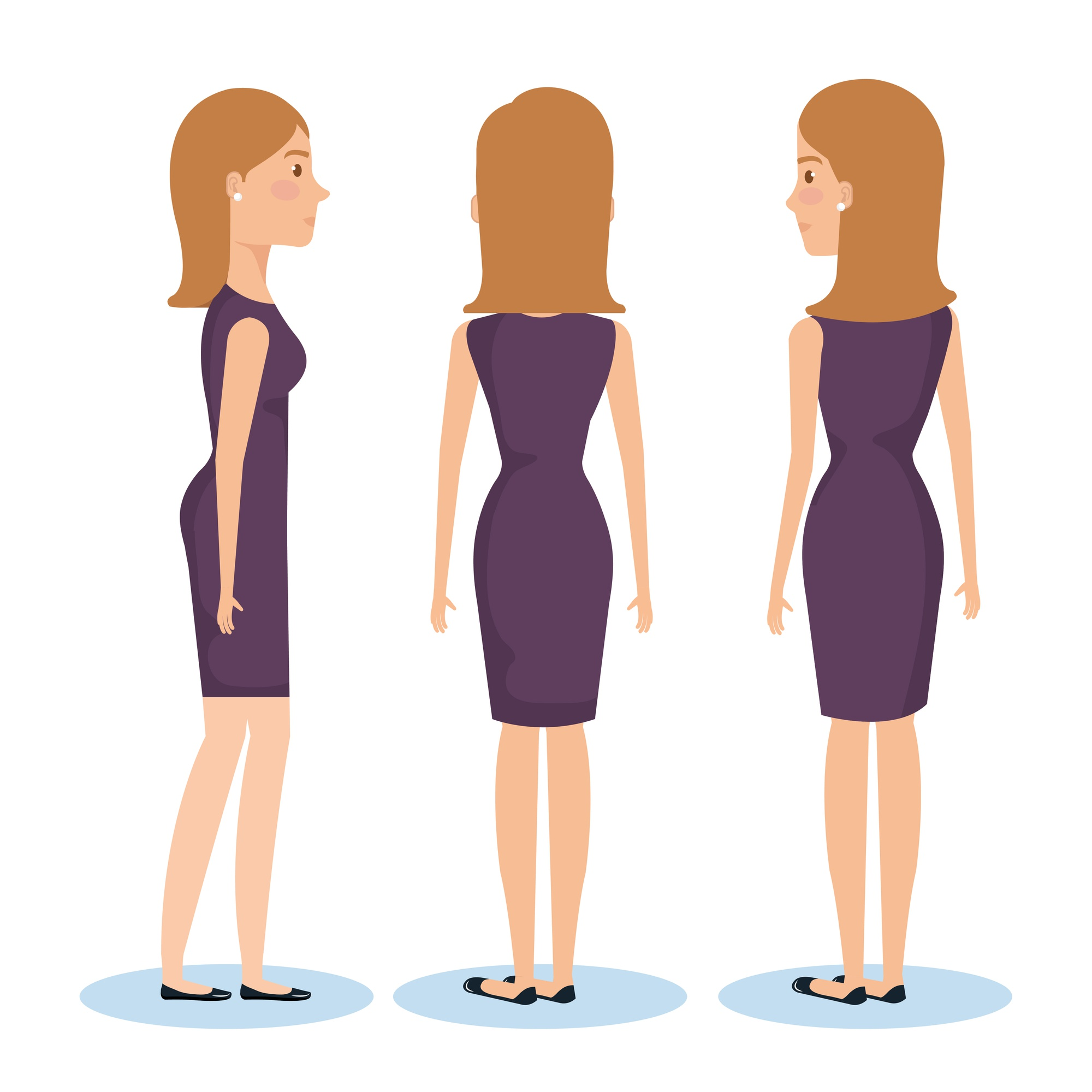 Group of young women poses and styles vector illustration design