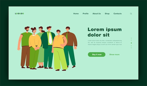 Group of office employees standing together flat  illustration. cartoon happy professional workers portrait in suit. business team, career and startup concept landing page