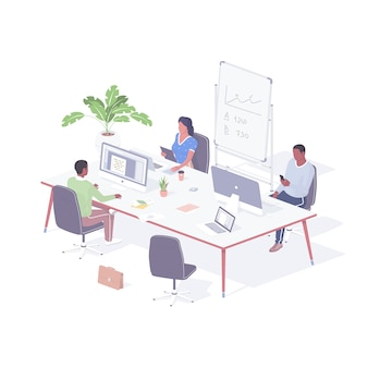 Group office employees working project