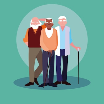 Group of old men avatar character