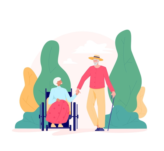 Group of old people walking outdoor. old man with a cane and woman in a wheelchair in a park. recreation and leisure retiree activities concept.   illustration of elderly people, flat style.