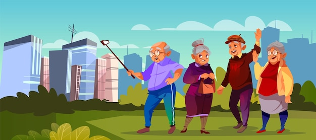 Group of old people with selfie stick at green park. cartoon senior characters making photo.