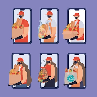 Group of online ordering and delivery men and women icons on a phone illustration design