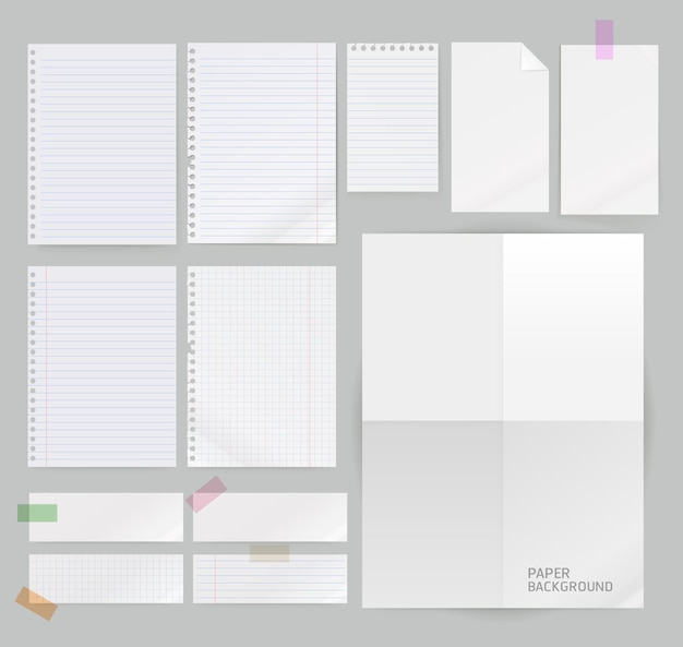Group of paper background isolated on grey