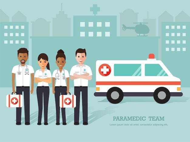 Group of paramedics, medical staff.