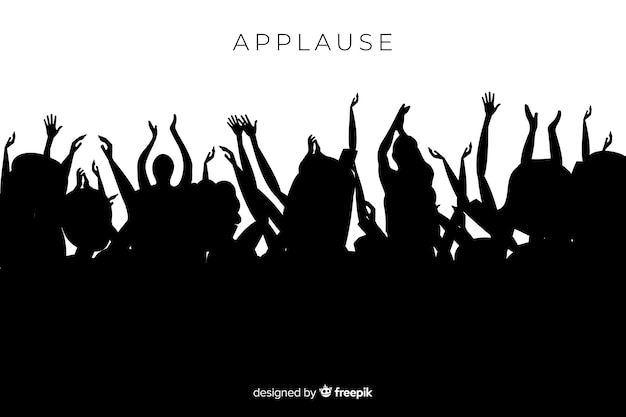 Group of people applauding silhouette