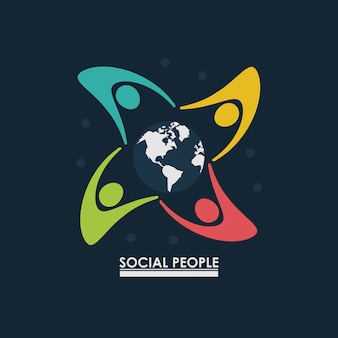 Group of people around earth globe concept