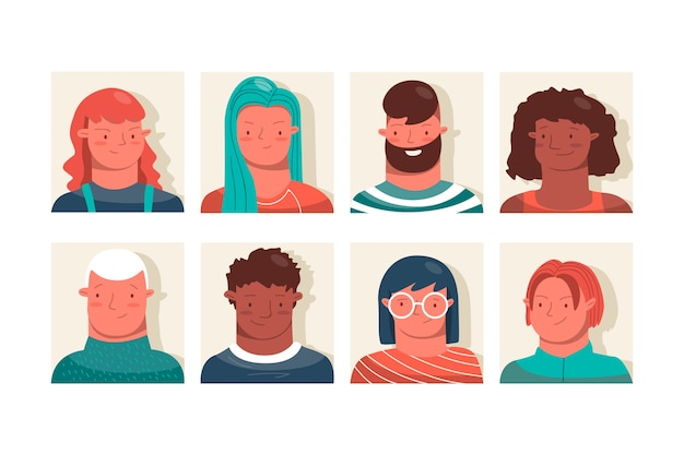 Group of people avatars collection
