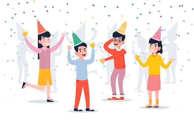 Gruppo di persone che celebrano insieme illustrato