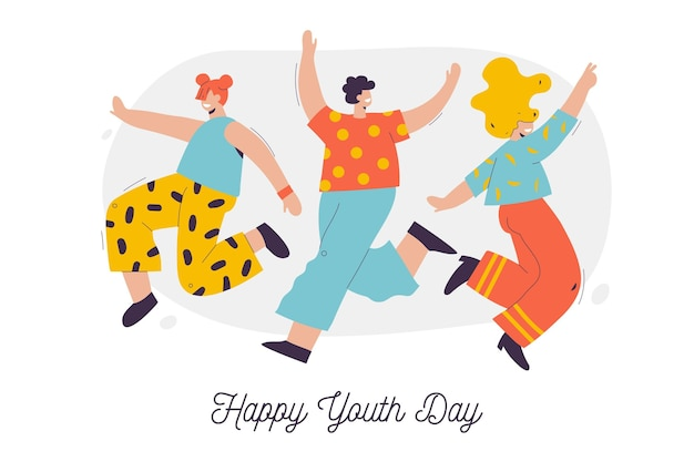 Group of people celebrating youth day illustrated