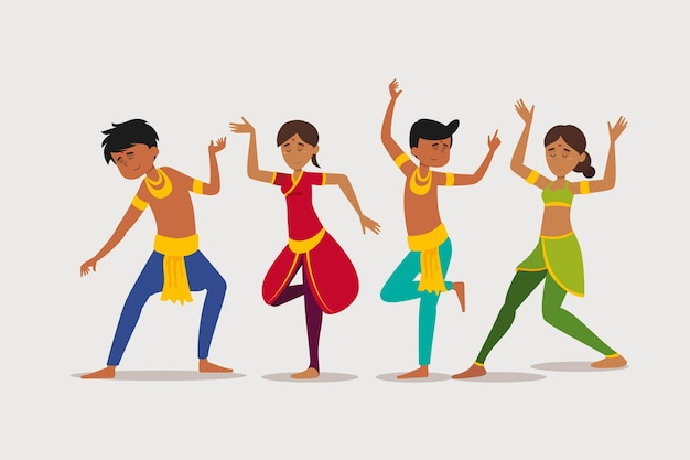 Group of people dancing bollywood illustration