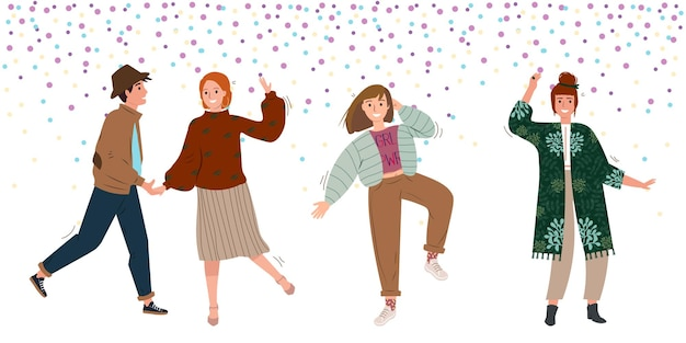 Group of people dancing at club or music concert or having fun at party flat vector illustration