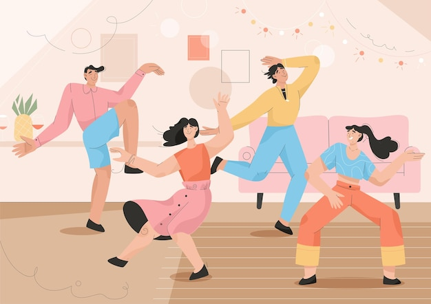 Group of people dancing at home party