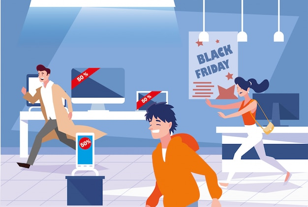 Group of people in day black friday