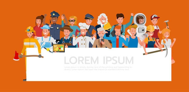 Group of people different job and occupations on orange background character vector design. labor day.