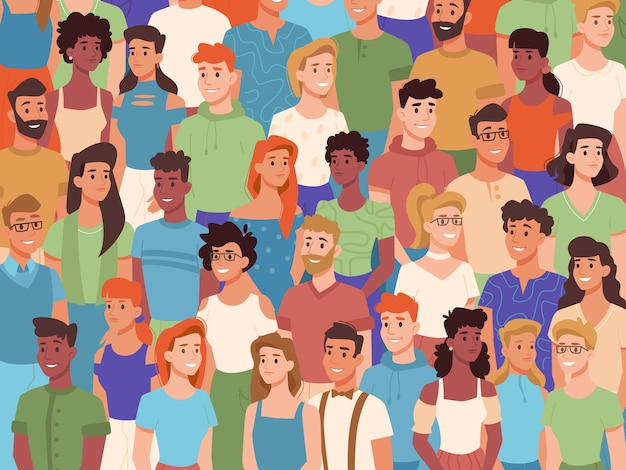 Group of people of different nationalities crowd of diverse characters