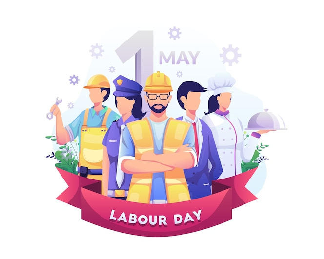 A group of people of different professions  labour day on 1 may   illustration
