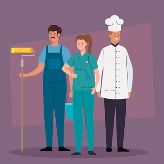 Group of people of different professions vector illustration design