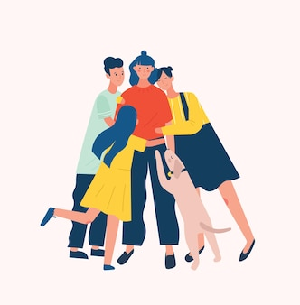 Group of people and dog surrounding and hugging or embracing young woman. friends' support, care, love and acceptance