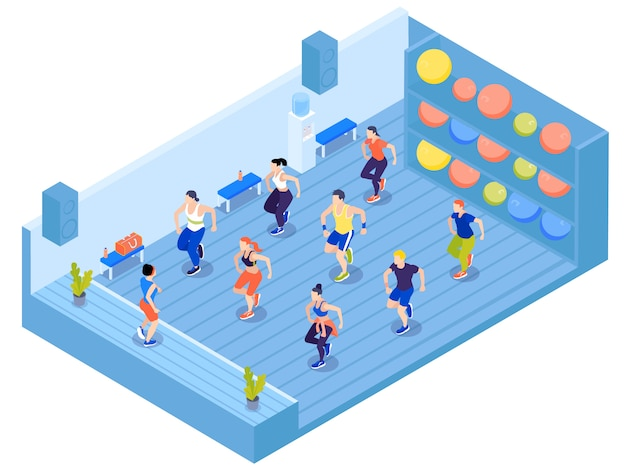 Group of people doing aerobics in gym with colorful fit balls on shelves 3d isometric vector illustration