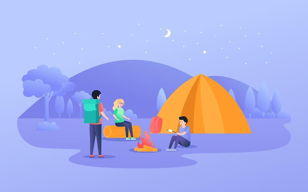 Group of people doing campfire and burning marshmallow at night
