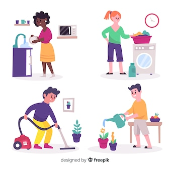 Group of people doing housework