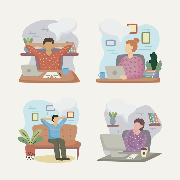 Group of people dreaming in the office characters  illustration