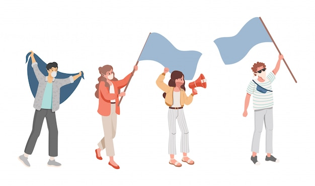 Group of people during meeting flat illustration. young men and women in face masks holding flags.