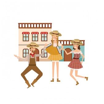Group of people farmers dancing