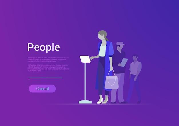 Illustrazione del modello dell'insegna di web di vettore di stile piano del gruppo di persone