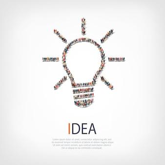 Группа людей формирует идею лампы