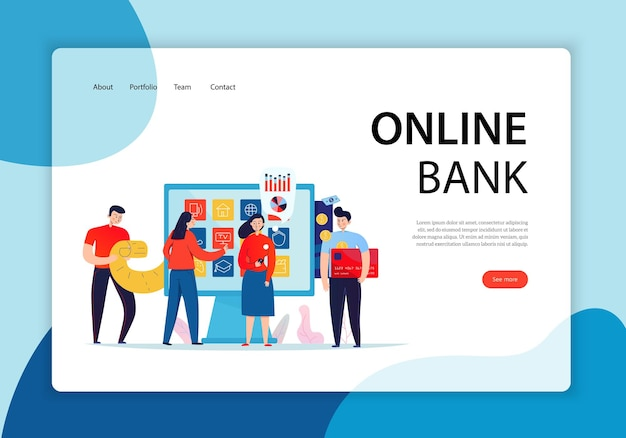 Group of people in front of a touch screen holding a credit card landing page. online bank concept