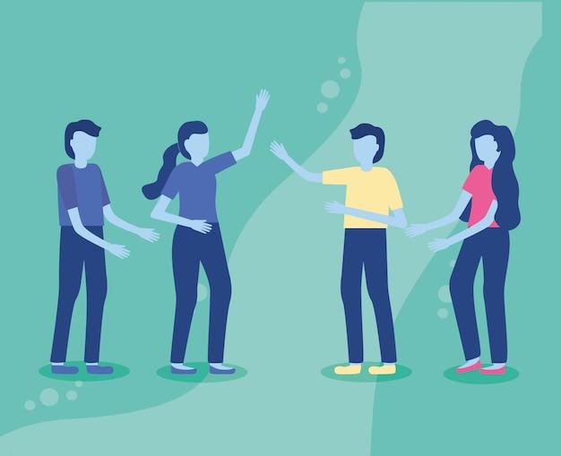 Группа людей жестом руки
