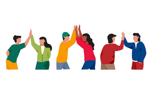 Group of people giving high five illustrated