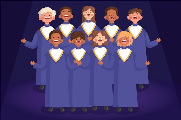 Group of people in gospel choir