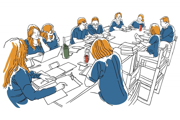Group of people have meeting on table line art illustration