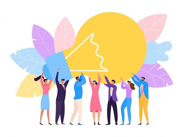 Люди группы держат огромную лампу новую идею иллюстрации. успех в бизнесе зависит от командной работы, творческого решения проблем.