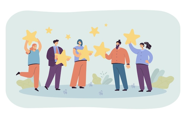 Group of people holding giant stars in hands. flat illustration