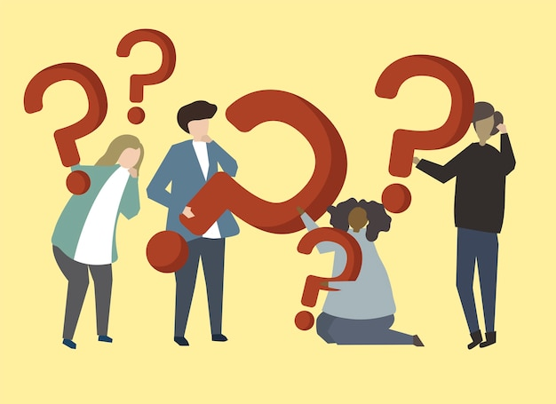 A group of people holding question mark signs illustration