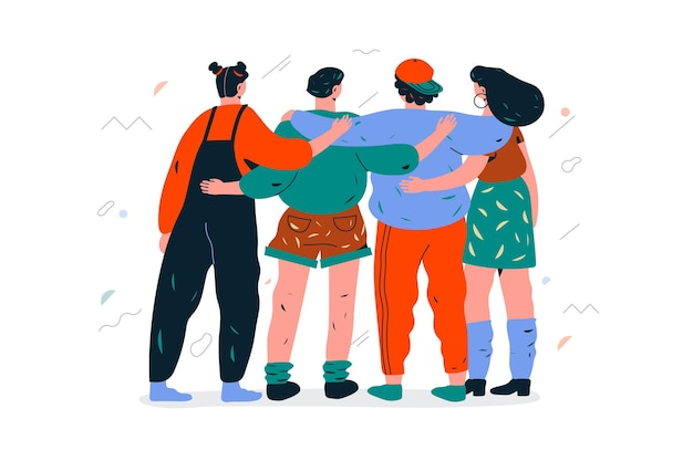 Group of people hugging each other on youth day illustrated