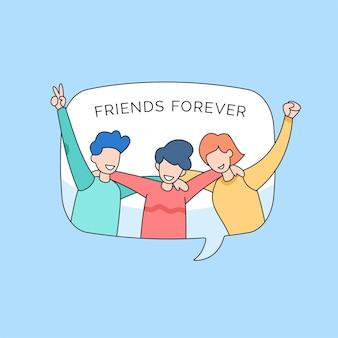 Группа людей, обнимающихся вместе для счастливого дня дружбы молодежи, мультяшный рисунок в стиле иллюстрации