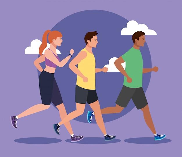グループの人々ジョギング、アバターキャラクターイラストデザインを実行している人々