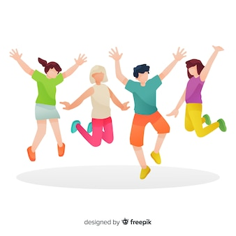 Group of people jumping illustrated