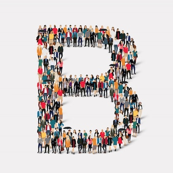 Group people letter form b. crowd point group forming a predetermined shape.
