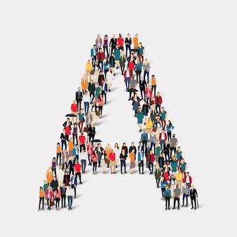 Group people letter form a. crowd point group forming a predetermined shape.