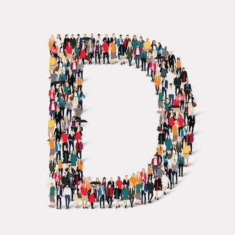 Group people letter form d. crowd point group forming a predetermined shape.