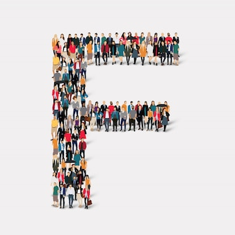 Group people letter form f. crowd point group forming a predetermined shape.