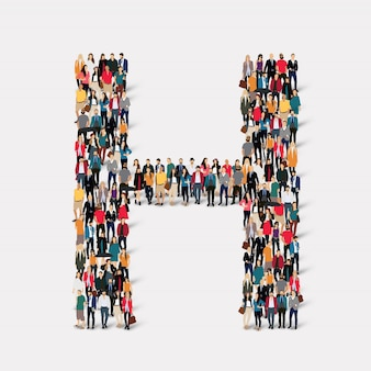 Group people letter form h. crowd point group forming a predetermined shape.