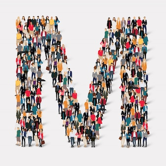 Group people letter form m. crowd point group forming a predetermined shape.